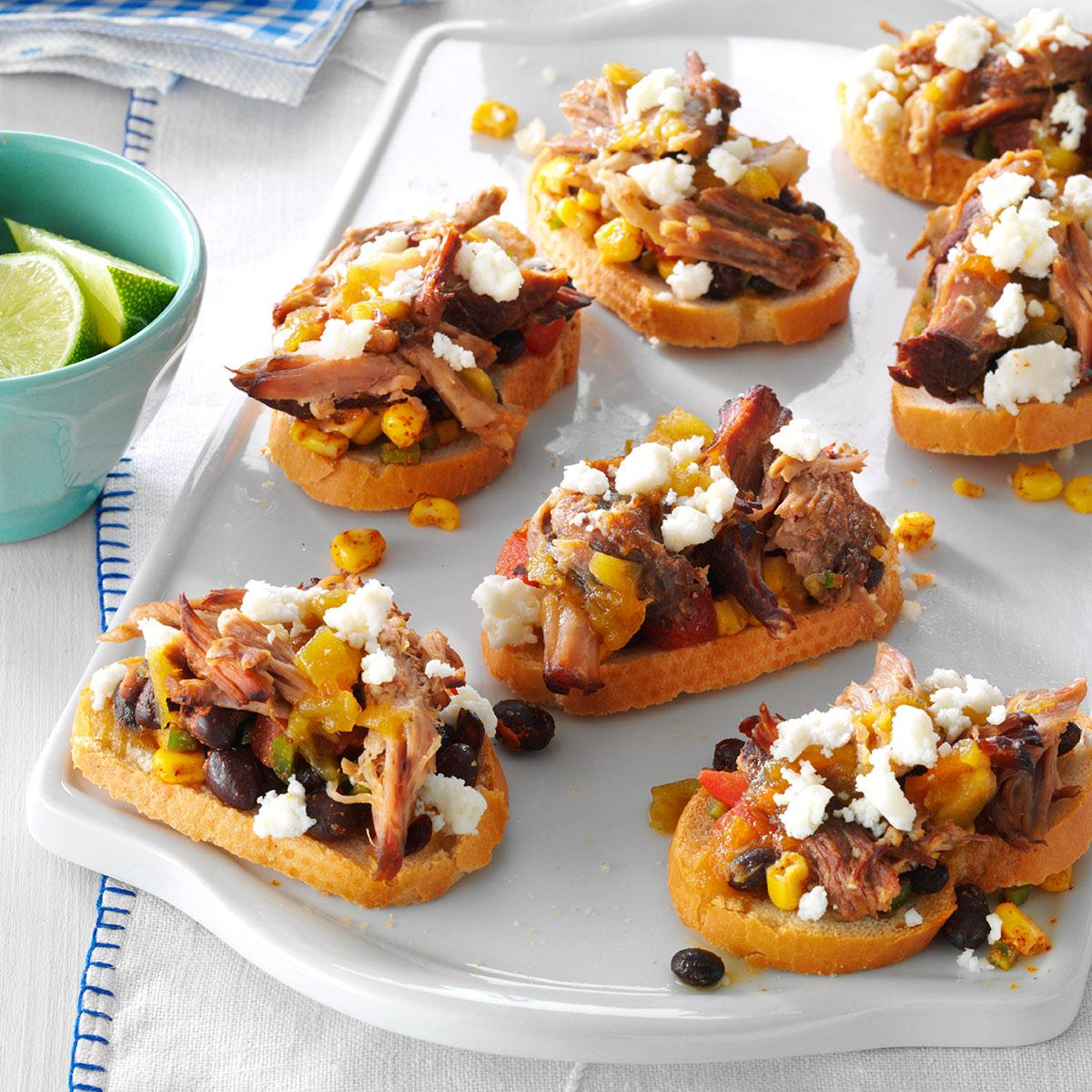 Party Finger Food Ideas Recipes: Southwestern Pulled Pork Crostini Recipe