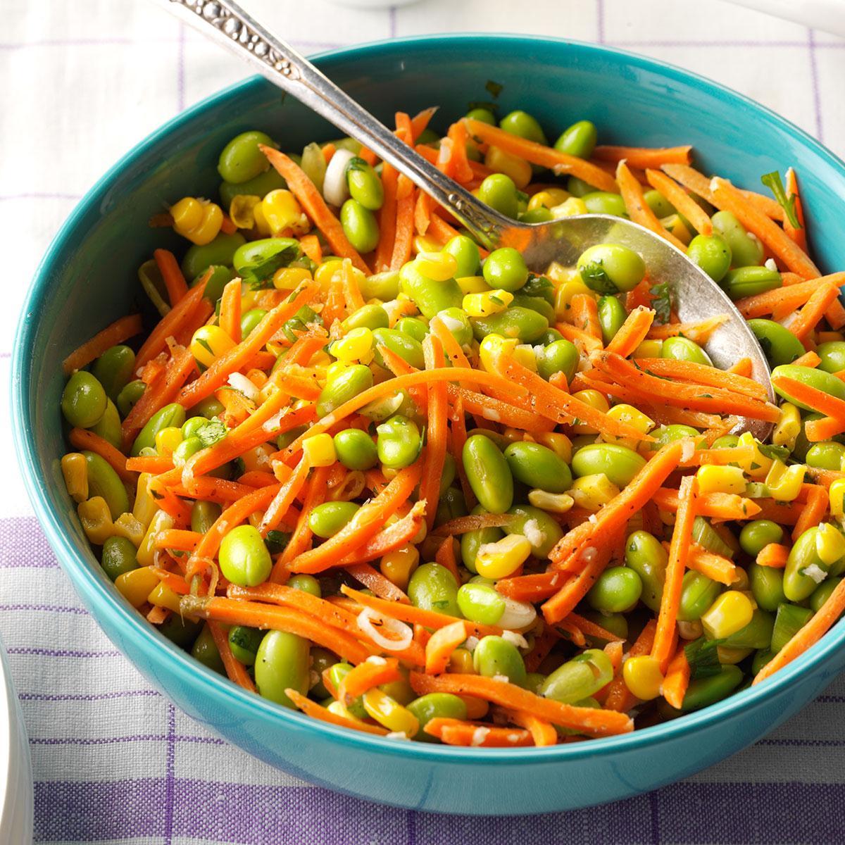 Edamame Corn Carrot Salad Recipe Taste Of Home