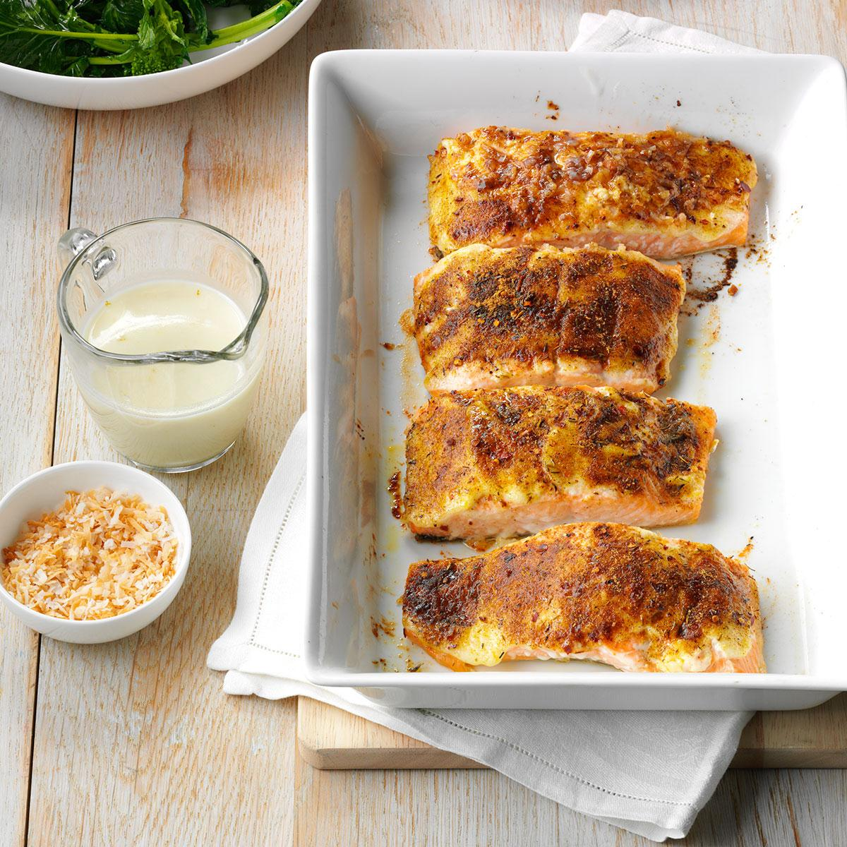 Jamaican salmon with coconut cream sauce recipe taste of home forumfinder Images