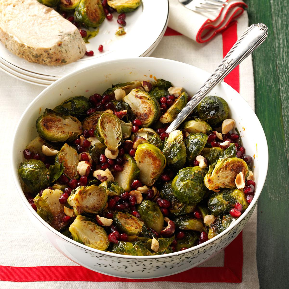 Pomegranate-Hazelnut Roasted Brussels Sprouts Recipe