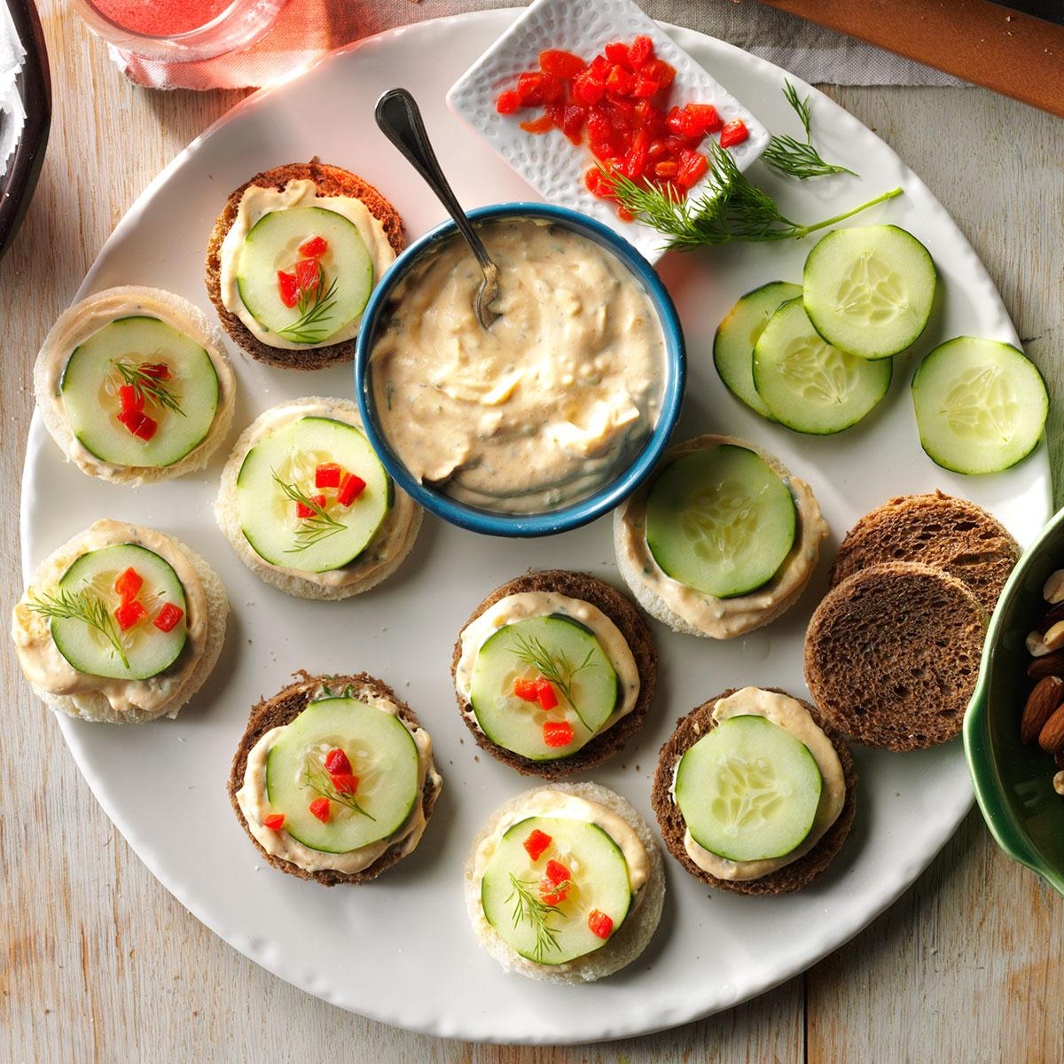 Cucumber canapes recipe taste of home for Canape with ingredients