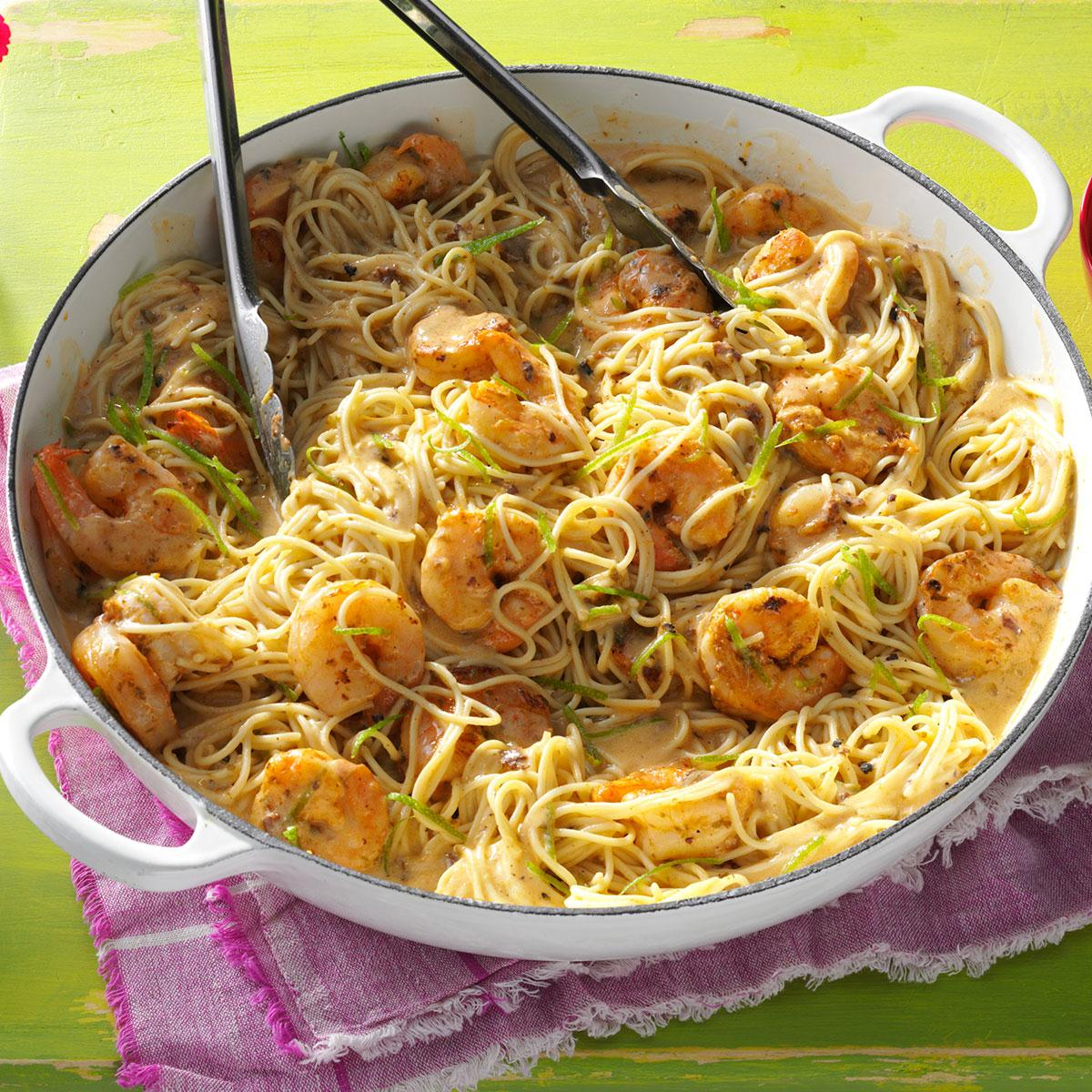 Thai lime shrimp noodles recipe taste of home What to make with shrimp for dinner