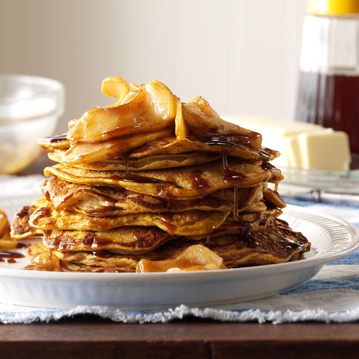 Pumpkin pancakes with cinnamon apple topping recipe taste of home ccuart Gallery