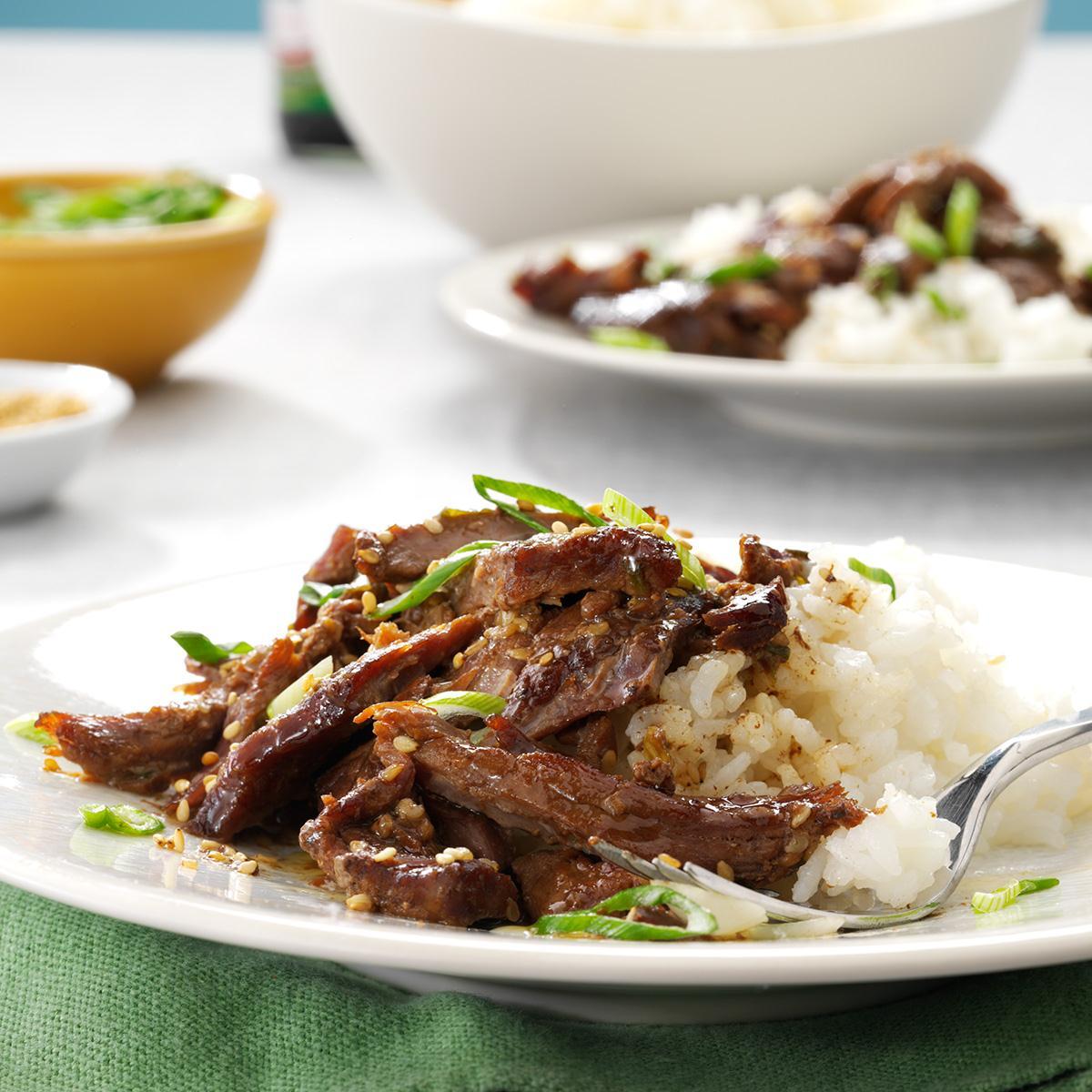 slow cooker garlic sesame beef recipe taste of home