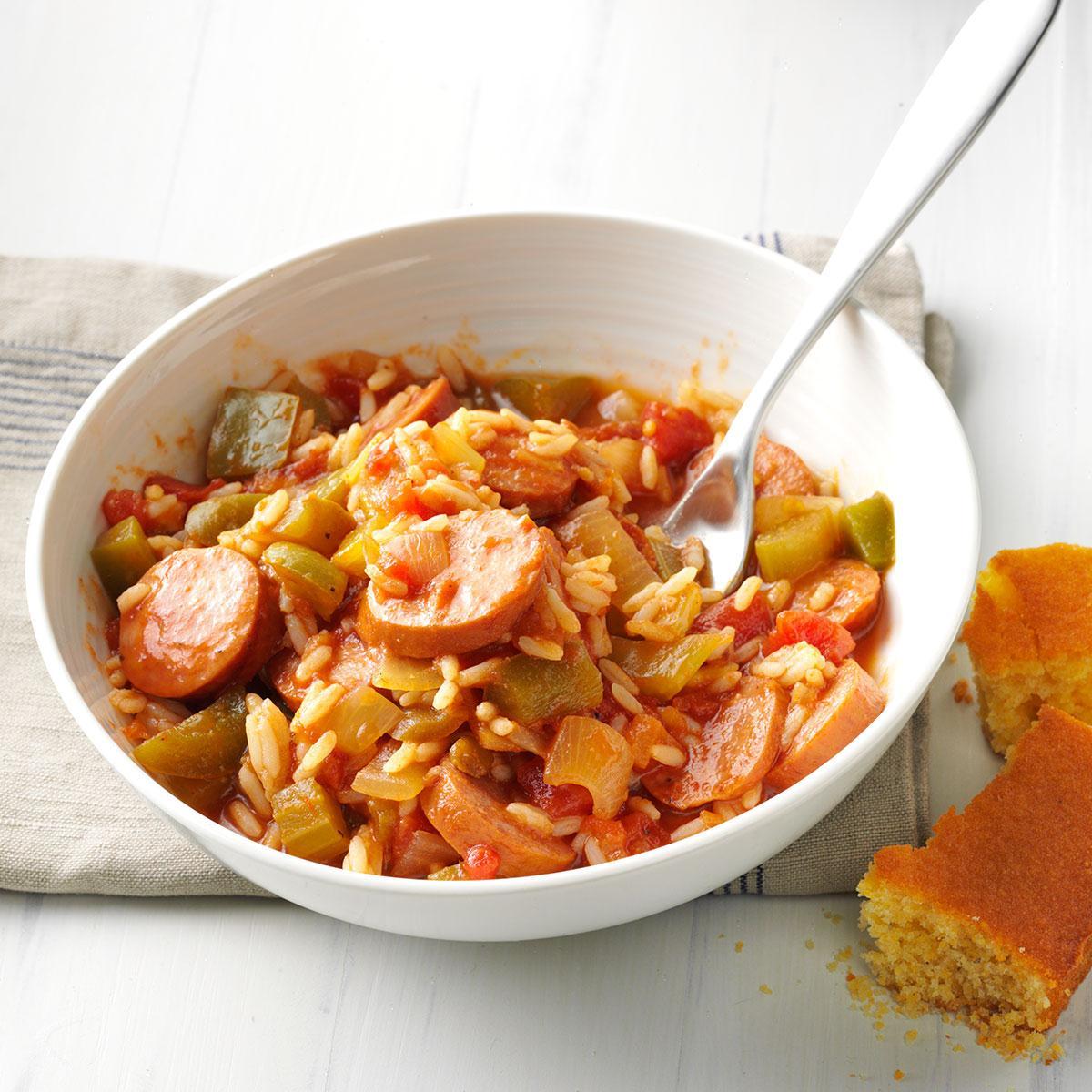 Shortcut sausage jambalaya recipe taste of home sisterspd