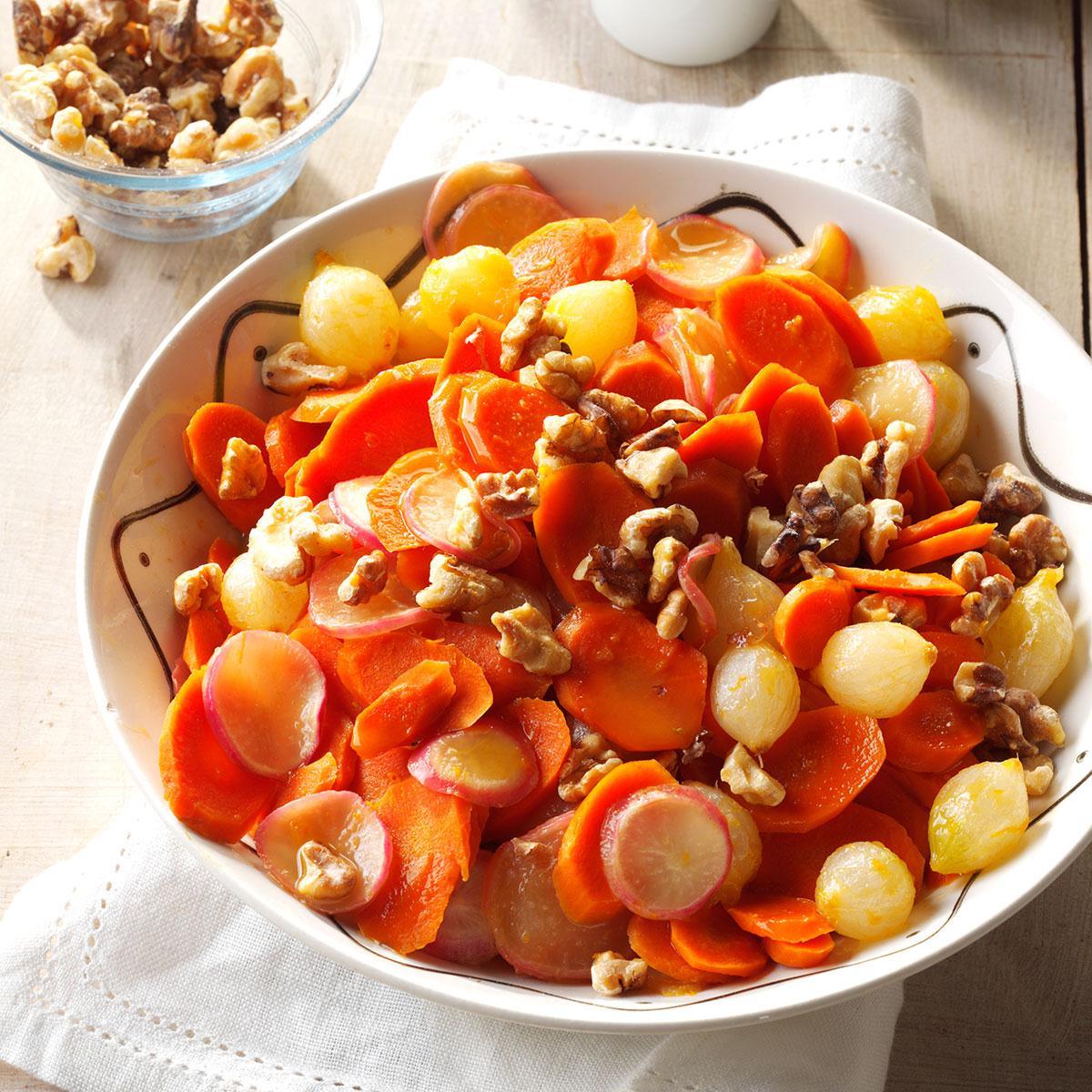 Orange-Glazed Carrots, Onions & Radishes Recipe