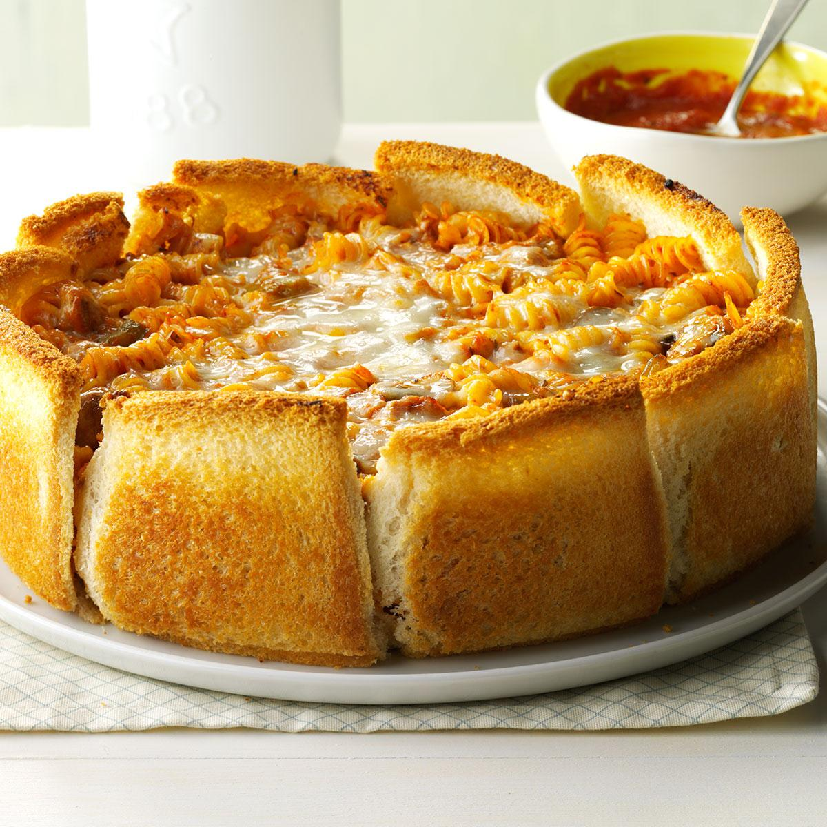 Garlic bread pasta torte recipe taste of home forumfinder Image collections