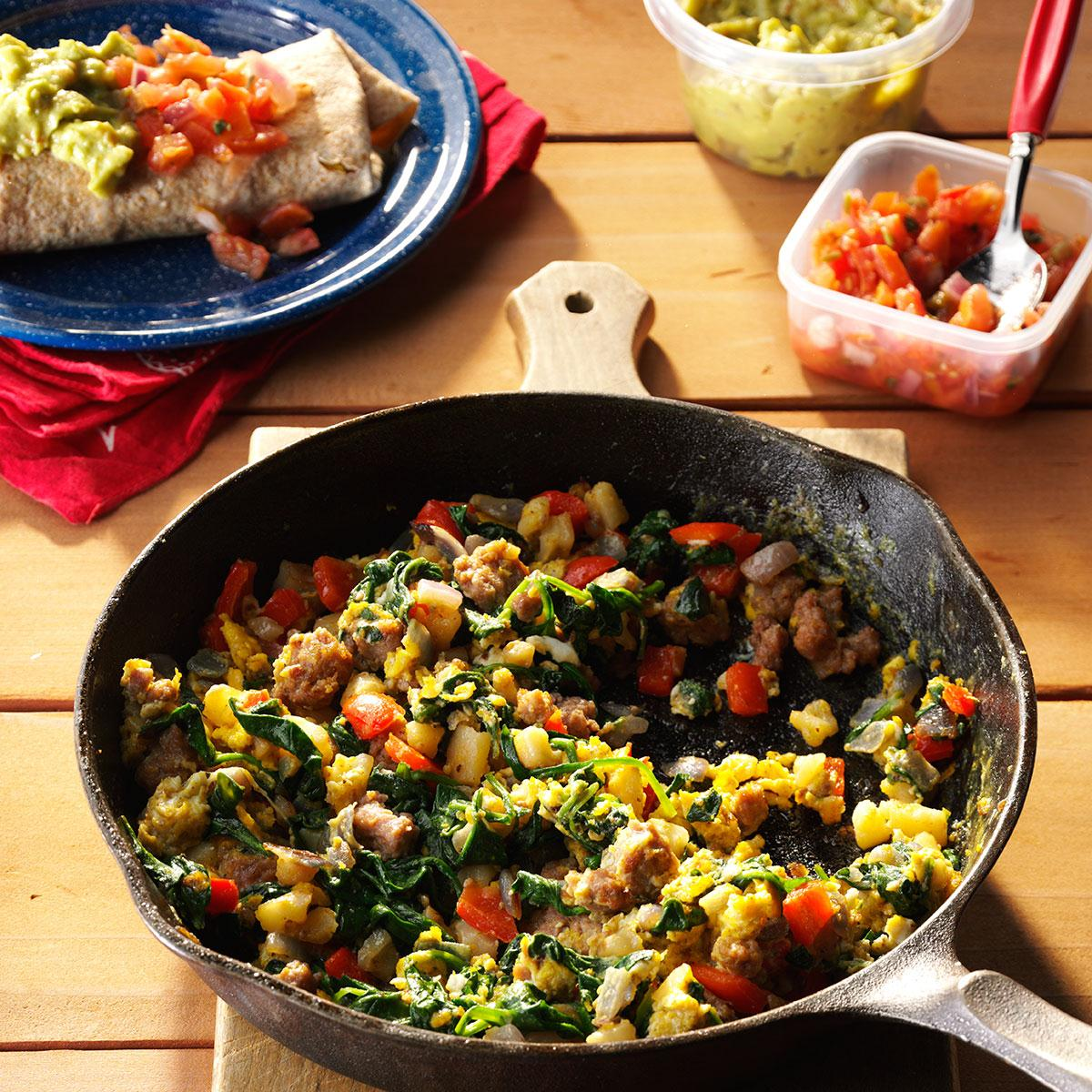 20 Make Ahead Camping Recipes For Easy Meal Planning: Egg & Spinach Breakfast Burritos Recipe