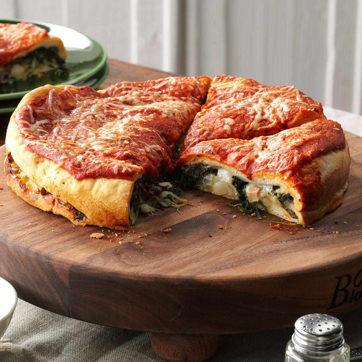 Spinach Stuffed Pizza Recipe Taste Of Home