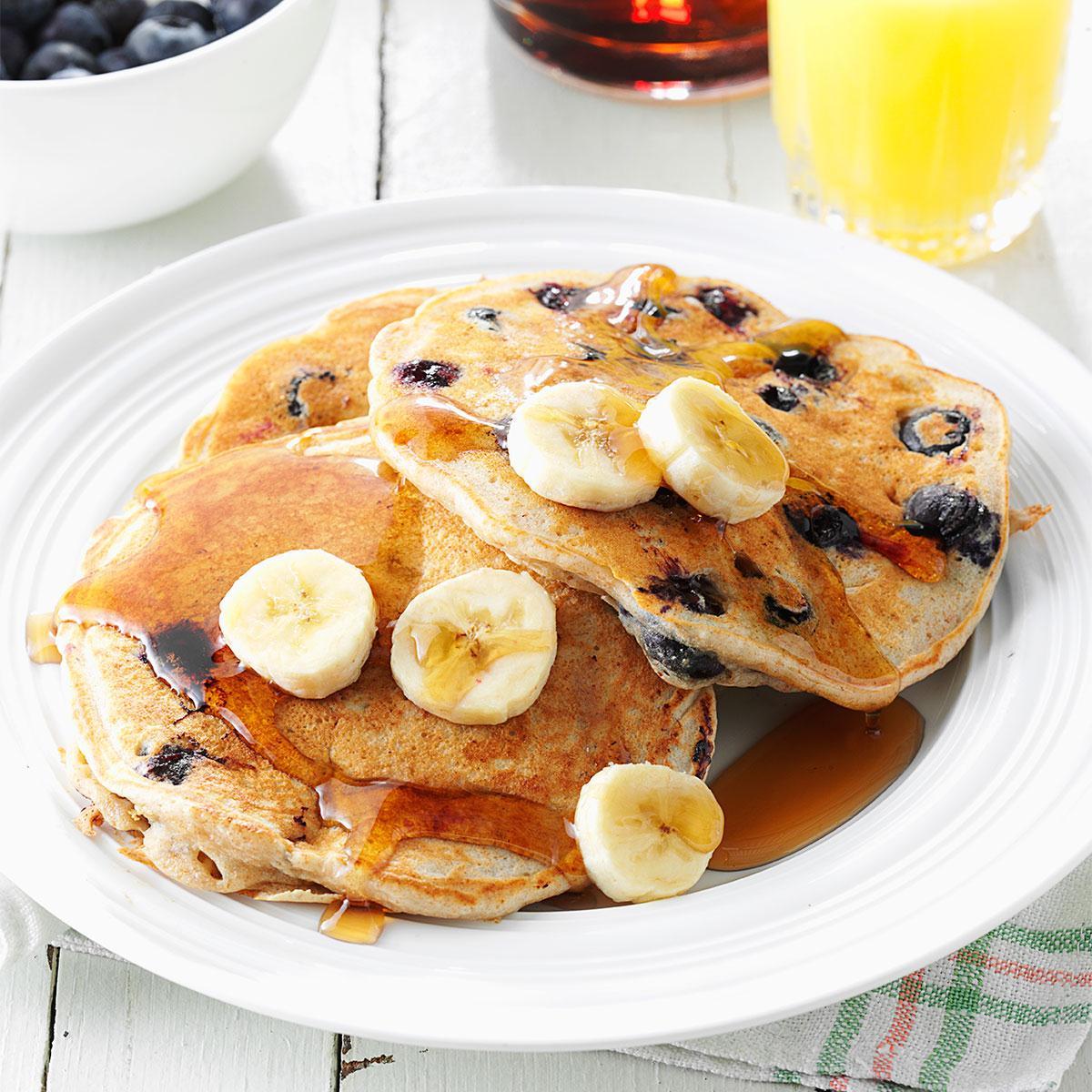 Banana blueberry pancakes recipe taste of home sisterspd