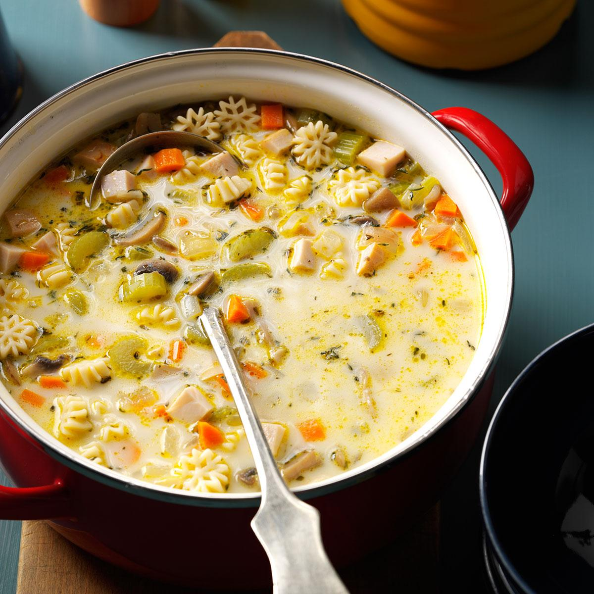Creamy Vegetable Turkey Soup Recipe Taste Of Home