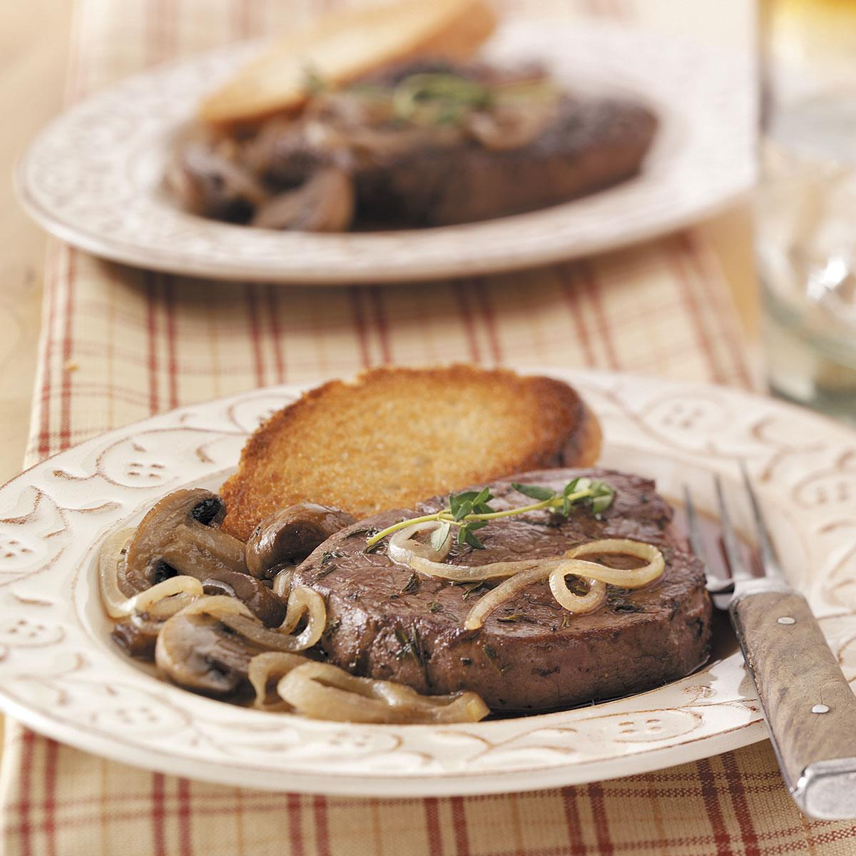 Steaks with french onion sauce recipe taste of home forumfinder Gallery