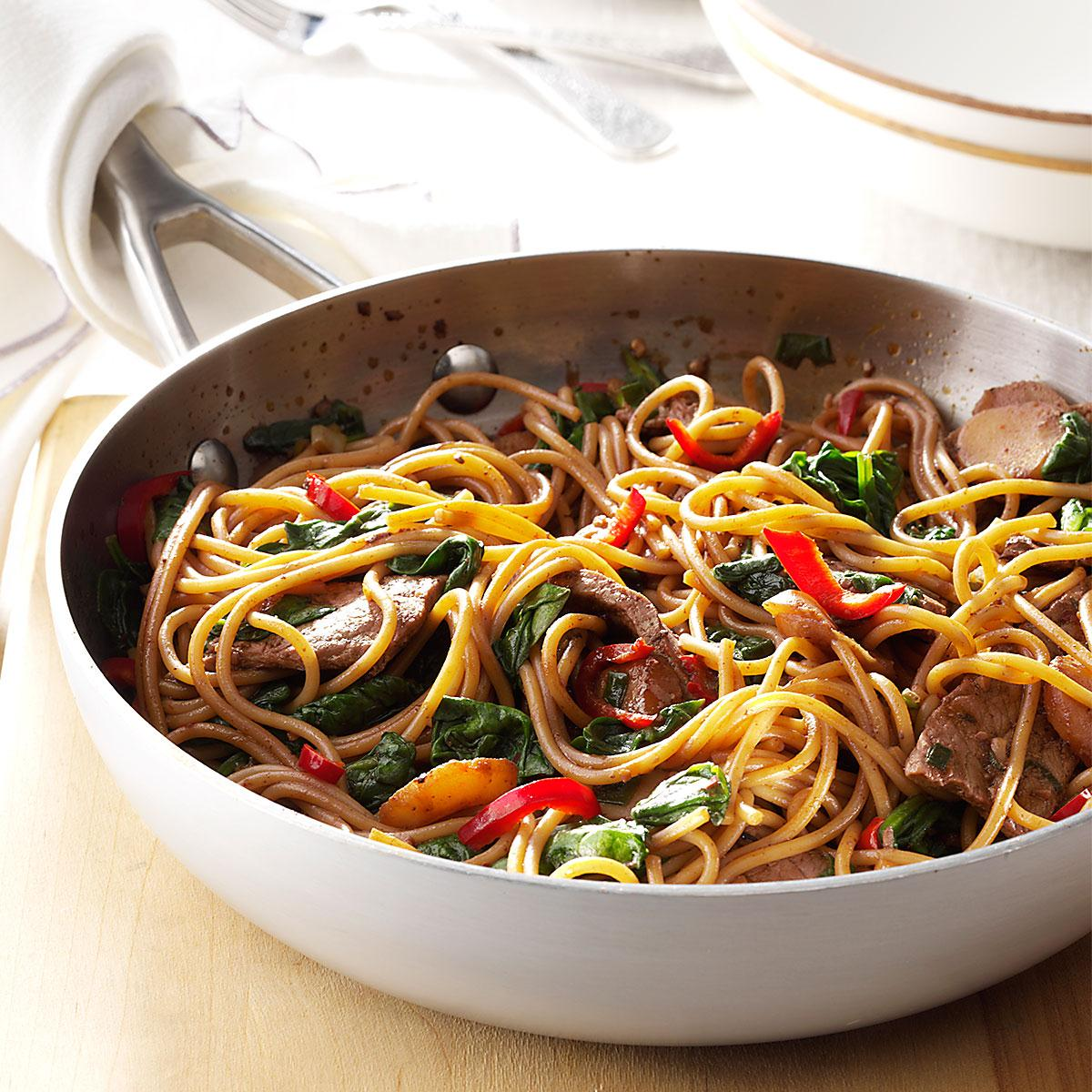 Beef spinach lo mein recipe taste of home forumfinder Images