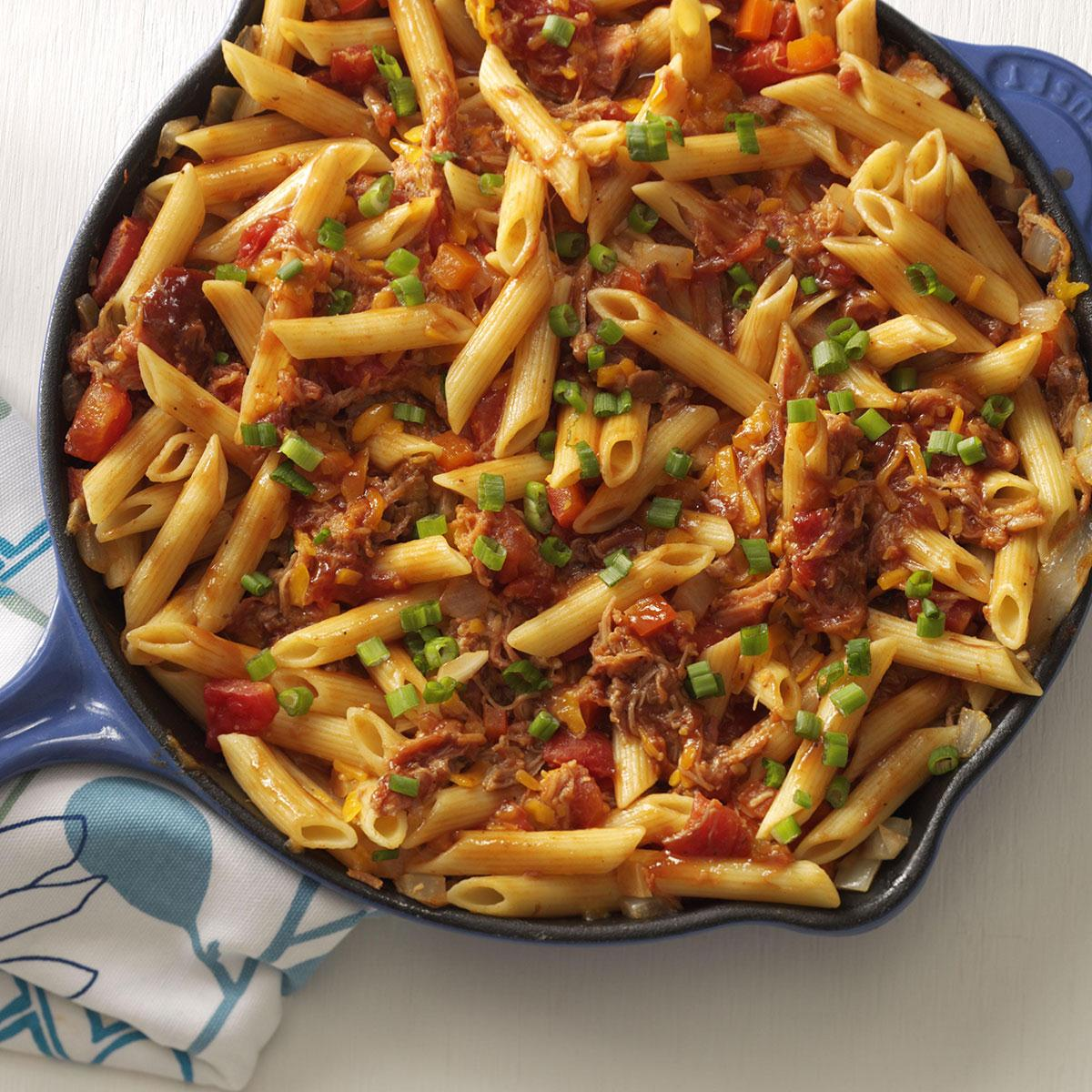 What Is Good To Cook For Dinner: Barbecue Pork And Penne Skillet Recipe