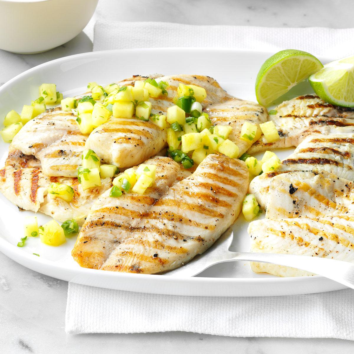 Grilled tilapia with pineapple salsa recipe taste of home for Fish tilapia recipe