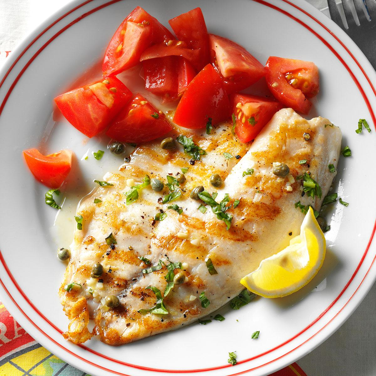 Grilled tilapia piccata recipe taste of home for Good fish recipes