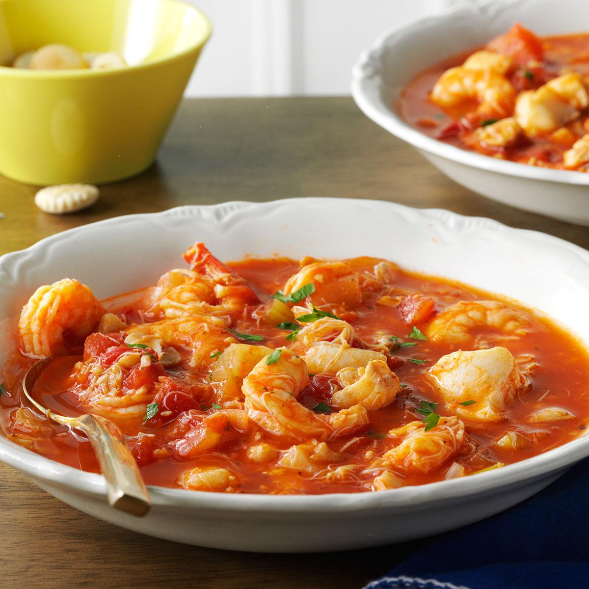 Seafood cioppino recipe taste of home for Fish meal ideas
