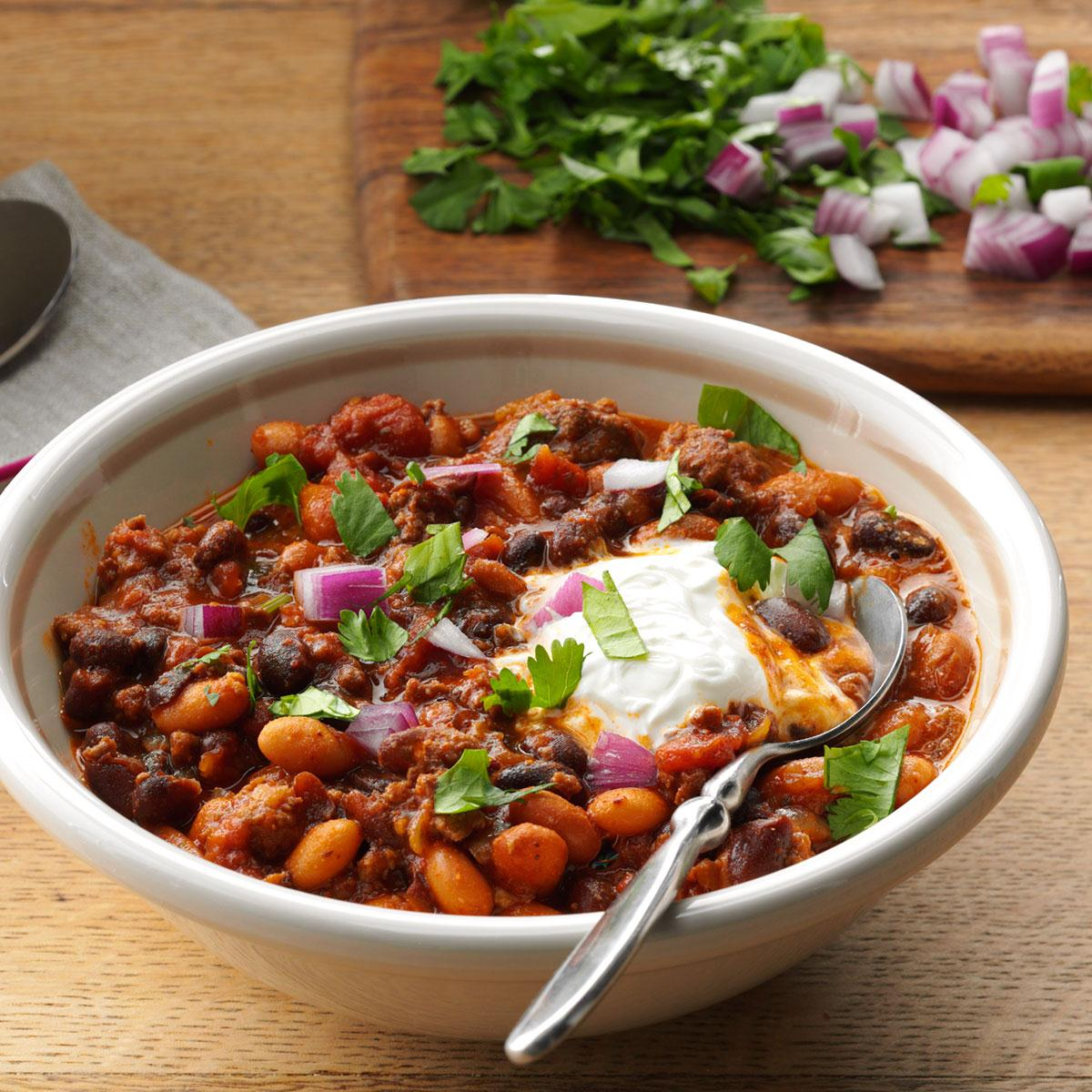 Bean & Beef Slow-Cooked Chili Recipe