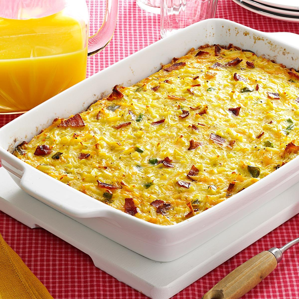 Hams Egg Cheesy Bread Roll: Cheesy Hash Brown Egg Casserole With Bacon Recipe
