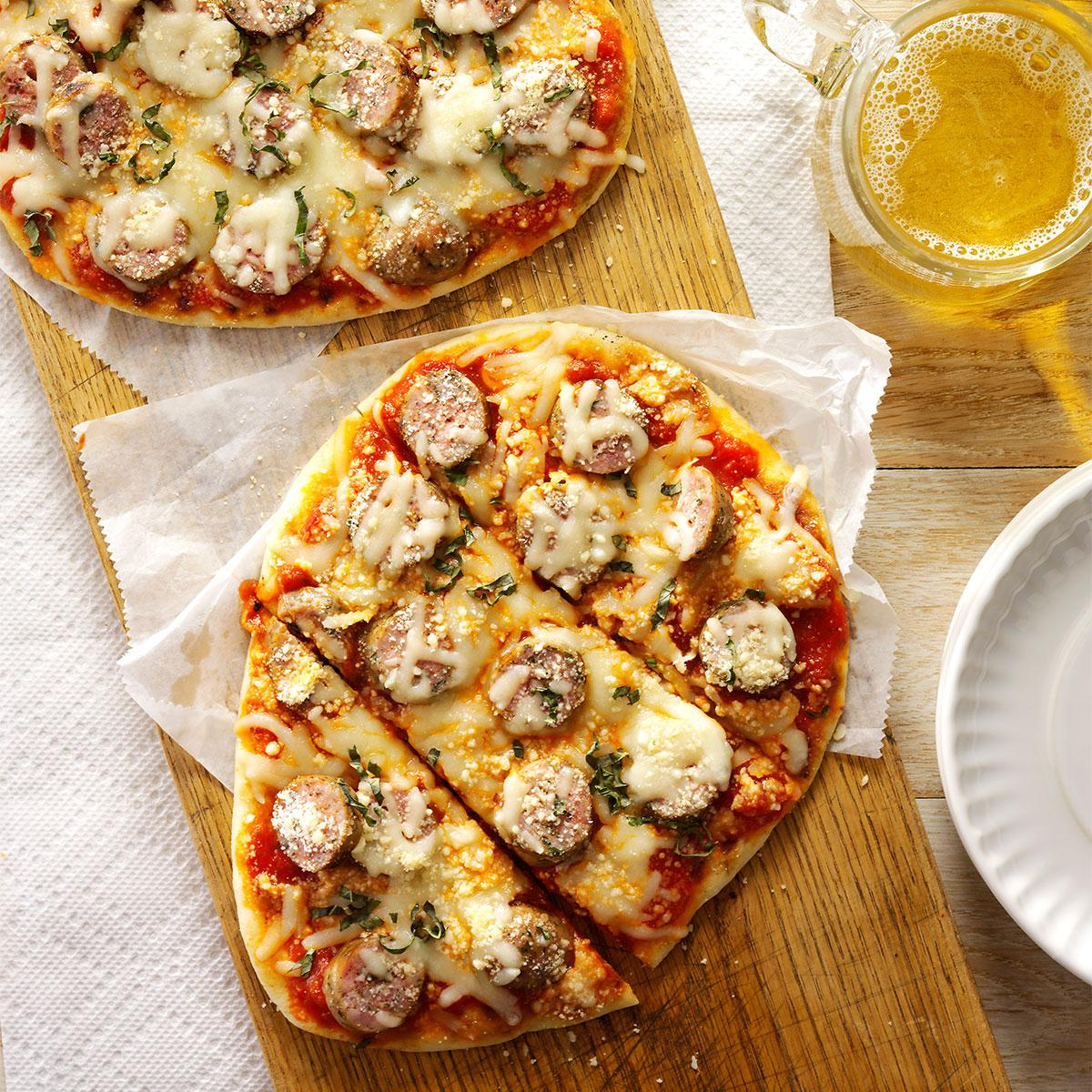 Grilled Sausage-Basil Pizzas Recipe