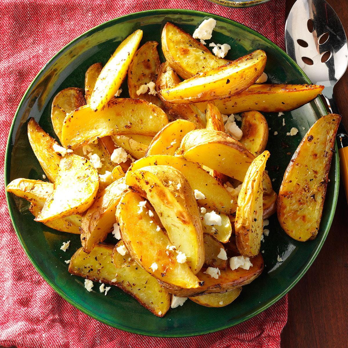 Lemon Chicken Mediterranean Style: Roasted Greek Potatoes With Feta Cheese Recipe