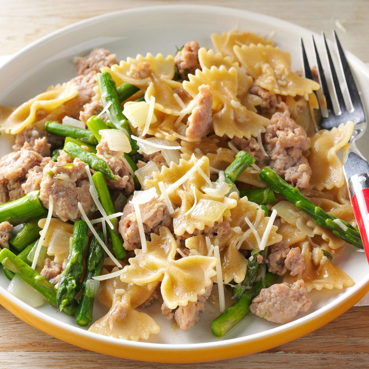 Bow Ties With Sausage Amp Asparagus Recipe Taste Of Home