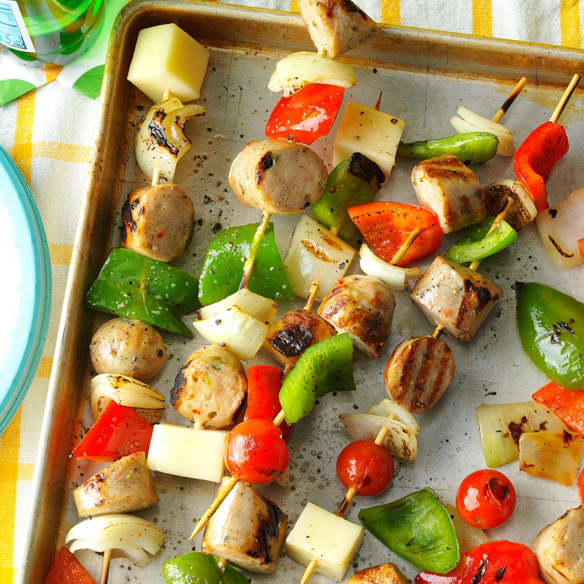 Italian Sausage And Provolone Skewers Recipe Taste Of Home