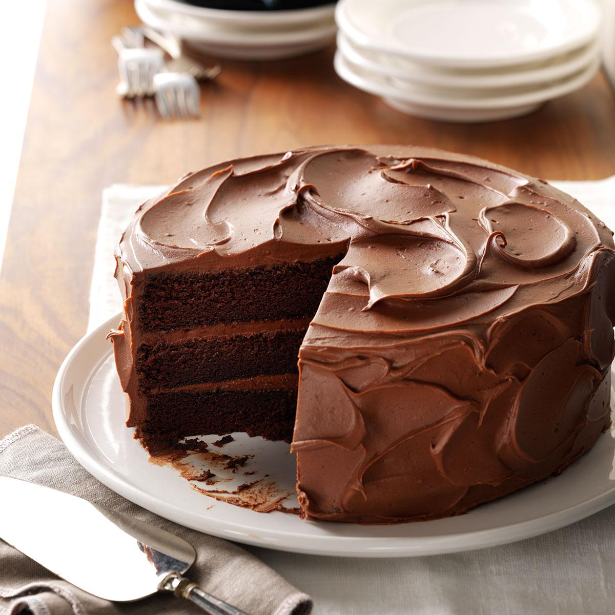 Sandy 39 s chocolate cake recipe taste of home for Different types of cakes recipes with pictures