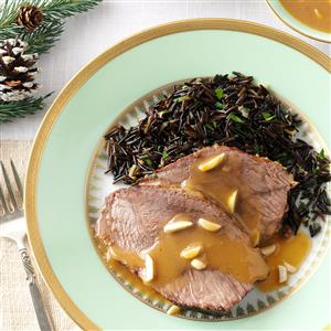 Almond Beef Roast with Wild Rice Recipe