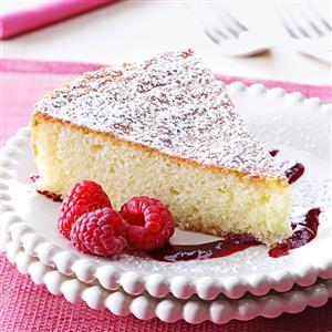 Almond Cake with Raspberry Sauce Recipe