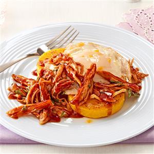 BBQ Chicken Polenta with Fried Egg Recipe