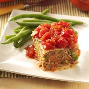 Bacon & Tomato-Topped Meat Loaf Recipe