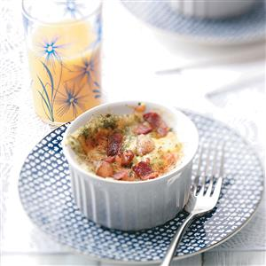 Baked Eggs with Cheddar and Bacon for Two Recipe