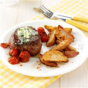 Basil-Butter Steaks with Roasted Potatoes Recipe