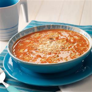 Basil Tomato Soup with Orzo Recipe