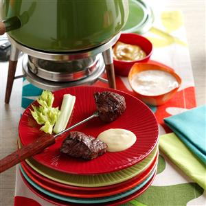 Beef Fondue with Sauces Recipe