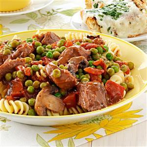 Beef Tip Stew over Fusilli Recipe