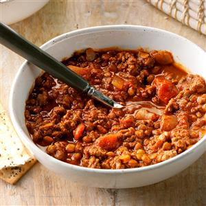 Beef and Lentil Chili Recipe
