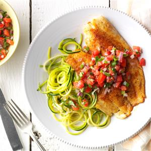 Blackened Tilapia with Zucchini Noodles Recipe