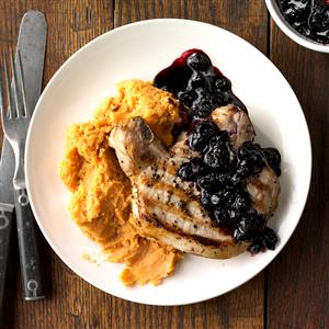Blueberry Chops with Cinnamon Sweet Potatoes Recipe