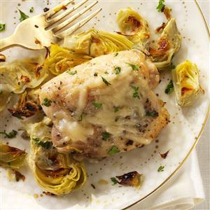 Broiled Chicken & Artichokes Recipe