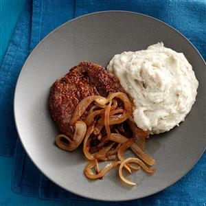 Broiled Steaks with Parmesan-Sage Potatoes Recipe