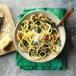 Bucatini with Sausage & Kale Recipe
