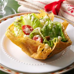 Caesar Salad in Peppered Parmesan Bowls Recipe