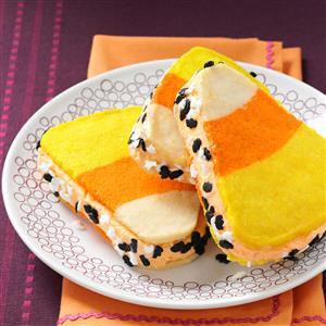 Candy Corn Ice Cream Sandwiches Recipe