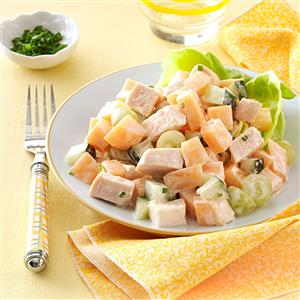Cantaloupe Chicken Salad with Yogurt Chive Dressing Recipe