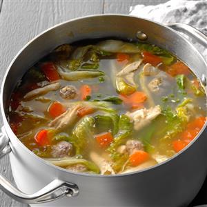 Chicken Escarole Soup with Meatballs Recipe