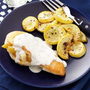 Chicken Rellenos with Cilantro-Lime Cream Sauce Recipe