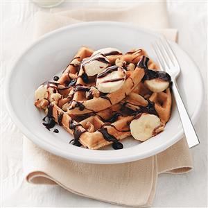 Chocolate Chip-Banana Belgian Waffles Recipe