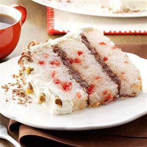 Chocolate-Filled Cherry Angel Cake Recipe